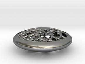 Leaf Veins Pendant in Polished Silver