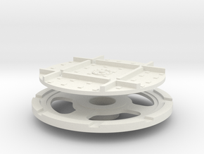 On16 wagon turntable 35mm diameter in White Natural Versatile Plastic
