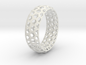 Hexagon Pattern Bracelet Thin Version in White Natural Versatile Plastic