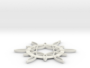 Double Hexafoil Pendant in White Natural Versatile Plastic