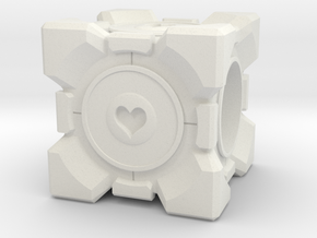 Companion Cube Pandora style Bead in White Strong & Flexible
