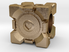 Companion Cube Pandora style Bead in Polished Gold Steel