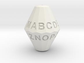 D26 Alphabet Dice in White Natural Versatile Plastic