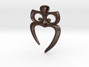 Owl Heart Pendant in Matte Bronze Steel