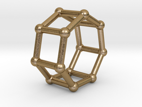 0349 Heptagonal Prism V&E (a=1cm) #002 in Polished Gold Steel