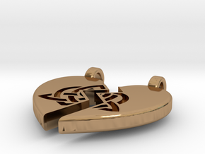 Heart Pendent (Sisters Bond Celtic) in Polished Brass