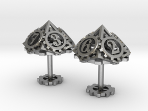 Steampunk Gear Cufflinks in Natural Silver