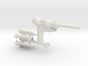 The CogBurner a sidearm for Transformers figures in White Natural Versatile Plastic