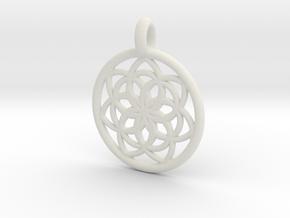 Kale pendant in White Natural Versatile Plastic