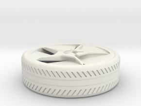 wheel for a miniature BM car in White Natural Versatile Plastic