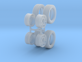 """1:48 Scale 14"""" Turbine Wheels and 195/50R14 Tires in Smooth Fine Detail Plastic"""