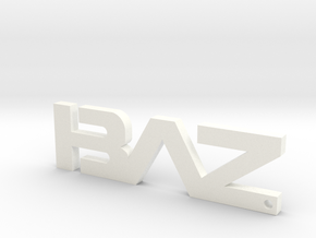 BAZ Keychain Small in White Processed Versatile Plastic