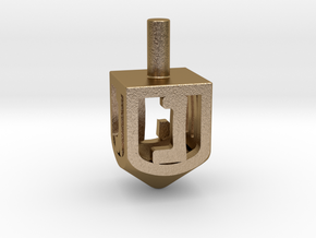 Dreidel (small version) in Polished Gold Steel