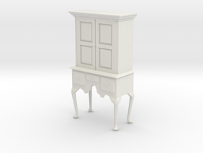 1:24 Queen Anne Highboy Cabinet in White Natural Versatile Plastic