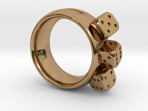 Ring Würfel/Dice 01, 19mm in Polished Brass
