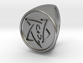 Elder Sign Signet Ring Size 8.5  in Natural Silver