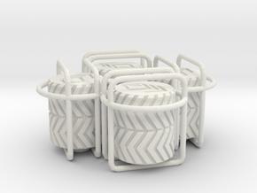 4x Double Tyre Tread tire valve cap in White Natural Versatile Plastic