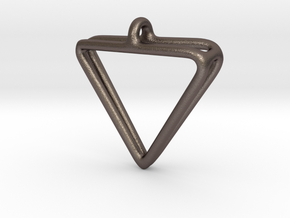 2Triangles Pendant in Polished Bronzed Silver Steel: Medium