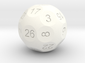 D26 Sphere Dice for Impact! Miniatures in White Strong & Flexible Polished