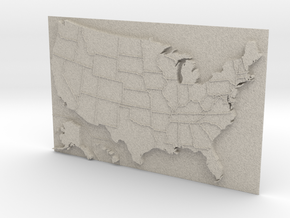 USA Map 180mm in Natural Sandstone