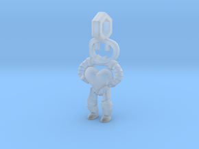 Little Droid heart Pendant in Smooth Fine Detail Plastic