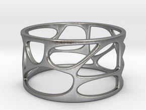 VoronoiRing001 sz12 stl in Raw Silver