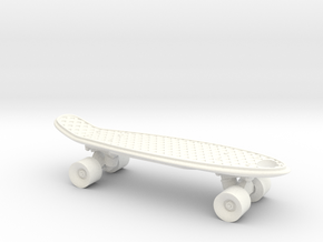 Mini Penny Board - 3D Printed in Stainless Steel in White Processed Versatile Plastic