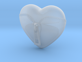 Leather Zipped Heart Pendant in Smooth Fine Detail Plastic