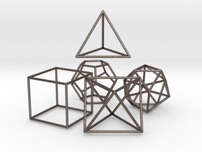 5 Platonic Solids - 35mm in Polished Bronzed Silver Steel