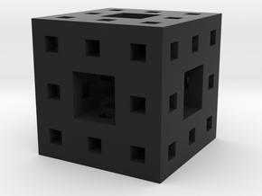 Itty Bitty Menger Sponge Pendant/Charm/Sculpture in Black Natural Versatile Plastic
