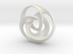 Tri Arm Torus medium in White Natural Versatile Plastic