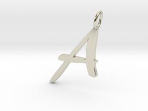 Classic Script Initial Pendant Letter A. in 14k White Gold