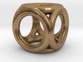 Mini cube pendant in Natural Brass