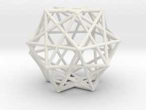 Star Cage Cubes 100mm Sacred Geometry in White Natural Versatile Plastic