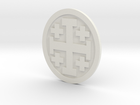 Crusader Cross Lapelforshapeways in White Strong & Flexible