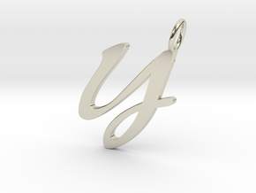 Y Classic Script Initial Pendant in 14k White Gold