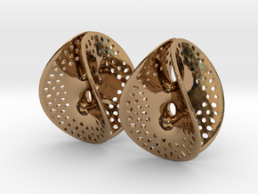 Small Perforated Chen-Gackstatter Thayer Earring in Polished Brass