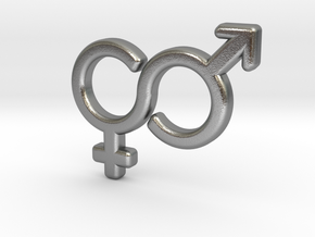 Gender Equality Pendant in Natural Silver