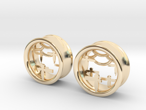 Shikigami Tunnels 1 inch gauge in 14K Yellow Gold