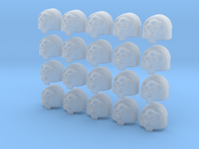 Skull Horns - 20, 28mm Large Shoulder Pads in Smooth Fine Detail Plastic