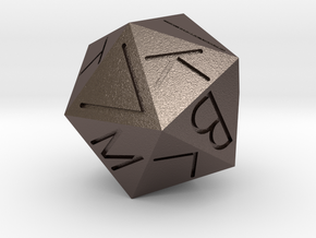 Replica Egyptian 20-Sided Die in Polished Bronzed Silver Steel