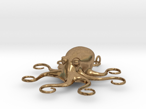 Octopus Pendant in Natural Brass