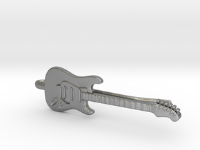 Guitar Tie Clip in Natural Silver