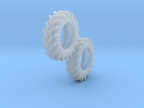 1:64 scale 12.4-24 Tires in Smooth Fine Detail Plastic
