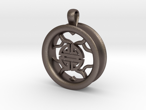 1 Inch Longevity Tunnel Pendant in Polished Bronzed Silver Steel