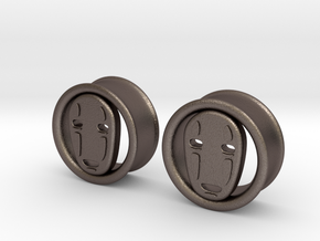 1 Inch No Face Tunnels in Polished Bronzed Silver Steel