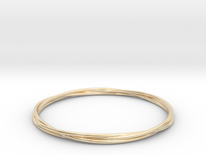 Three loops bangle in 14K Yellow Gold