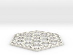 Hex Maille Coaster in White Natural Versatile Plastic