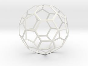 Truncated Icosahedron in White Natural Versatile Plastic