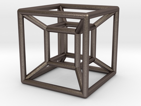 "1"" Wireframe Hypercube in Polished Bronzed Silver Steel"